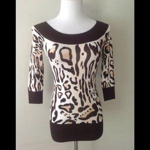🆕Cache Animal Print Knit Top